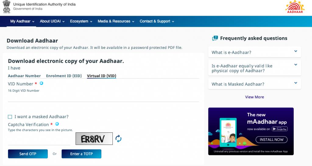 Aadhaar Card Download Process