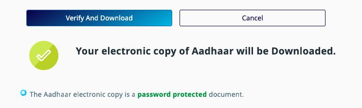 e aadhaar card download OTP Verification